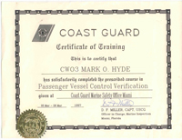 Coast Guard Certificate of Training Passenger Vessel Control Verification - Click to Enlarge