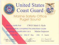 United States Coast Guard Marine Inspector Certificate - Click to Enlarge